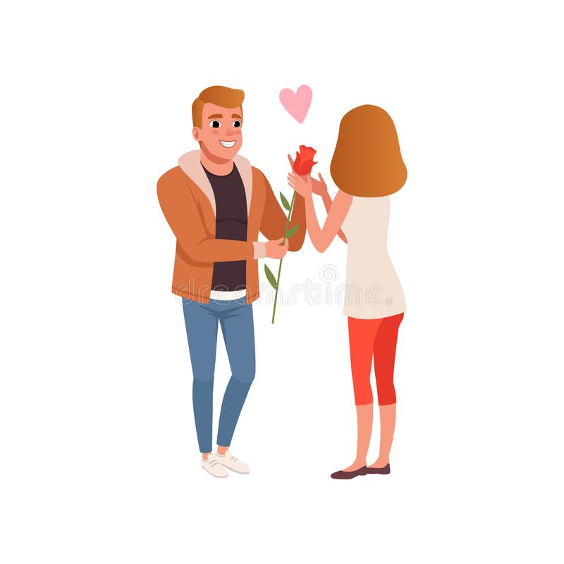 Boyfriend giving rose flower to his girlfriend, happy romantic loving couple on date cartoon vector Illustration. On a white background vector illustration