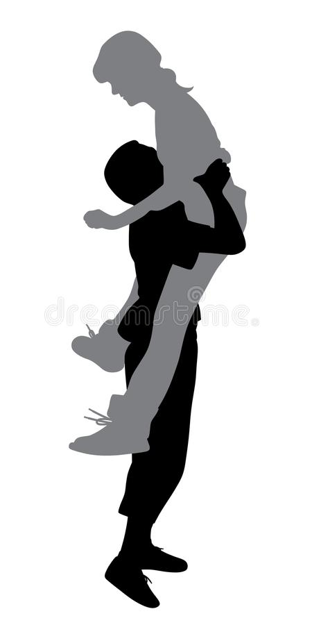 Boyfriend lifting his girlfriend up. Illustration of a boyfriend lifting his girlfriend up. Isolated white background. EPS file available stock illustration