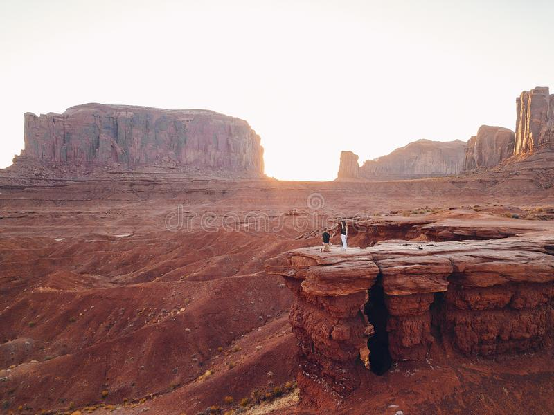 Boyfriend proposing to wife in Arizona. Boyfriend proposing to wife at monument valley in Arizona stock image
