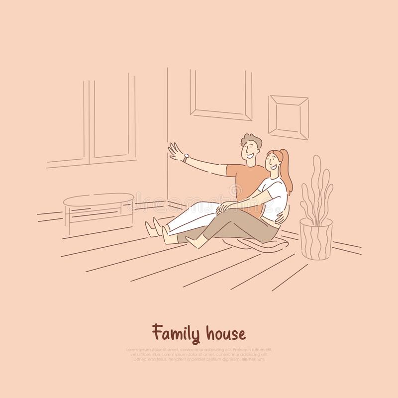 Boyfriend telling girlfriend funny story, man and woman sitting on living room floor smiling, cute young couple banner stock illustration
