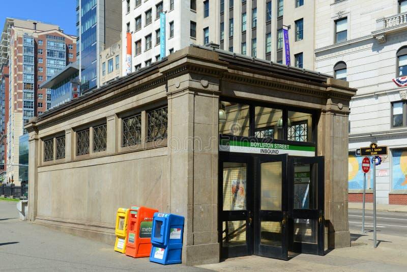 Boylston街地铁站在波士顿,美国 免版税库存图片