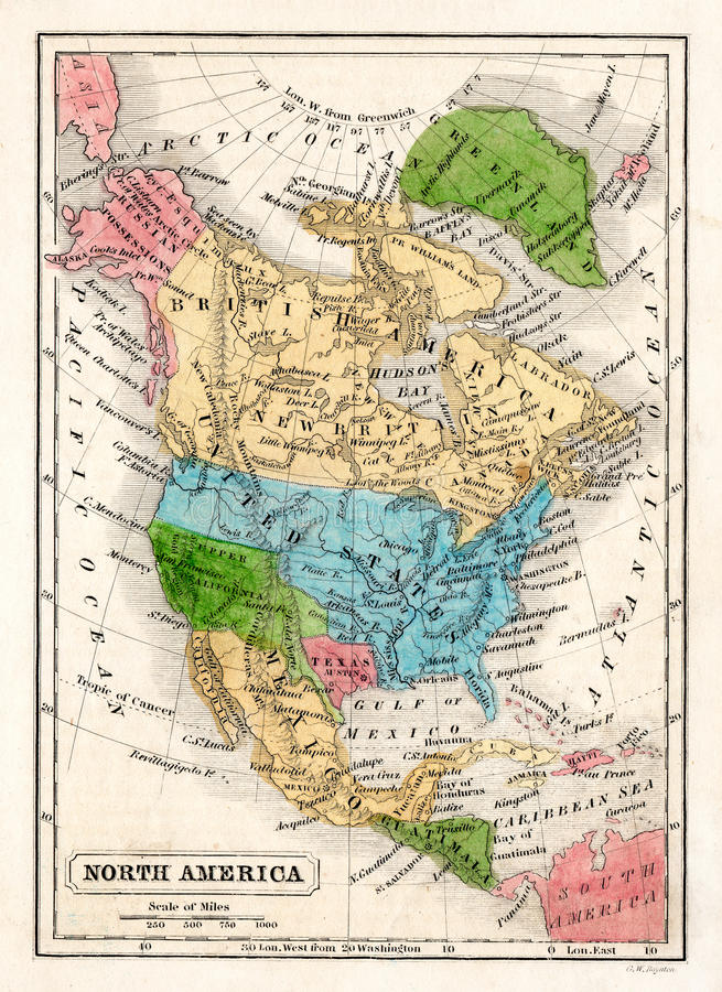 1845 Boynton-Kaart van Noord-Amerika met de Republiek van Texas vector illustratie