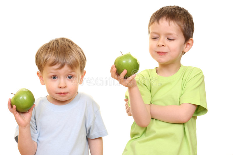 Boys and apples royalty free stock photos