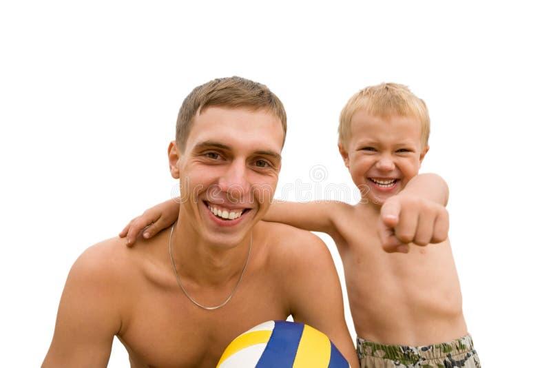 Boys.beach.ball fotografia de stock