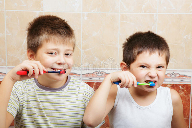 Download Boys brushing teeth stock image. Image of teeth, freshness - 17396751