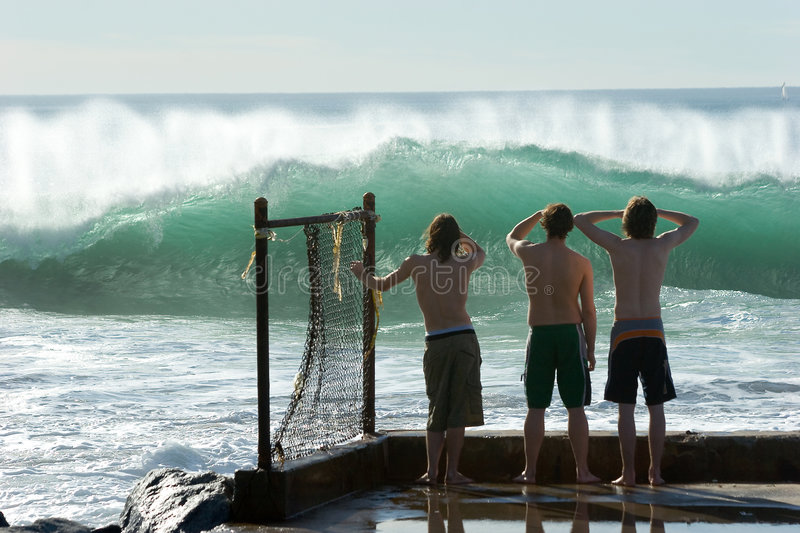 Download Boys Checking Out The Surf Editorial Stock Image - Image: 472899