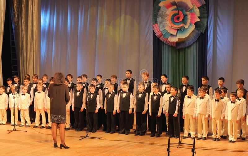 Boys choir. Alarm bells on the stage of the Kyiv Palace of children and youth. Festival First Steps royalty free stock images