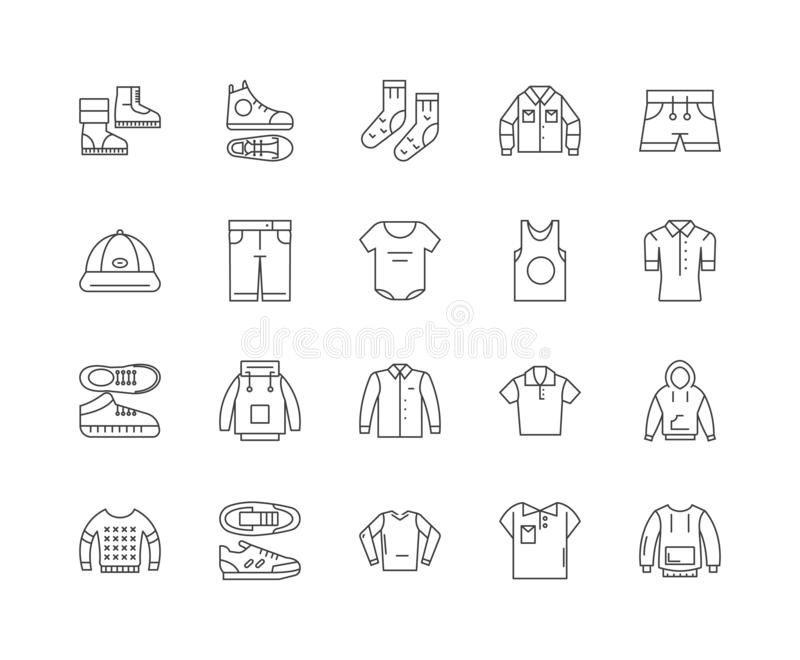 Boys collection line icons, signs, vector set, outline illustration concept. Boys collection line icons, linear signs, vector set, outline concept illustration stock illustration