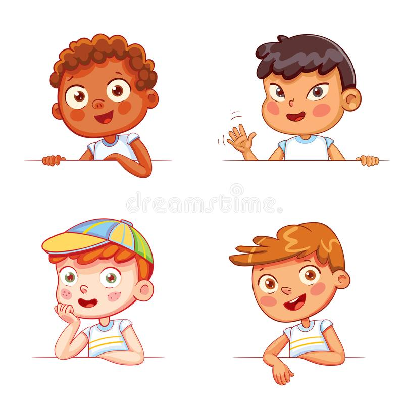 Boys of different nationalities holding empty white board. Cartoon collection of little boys portraits. Children of different nationalities and various gestures vector illustration