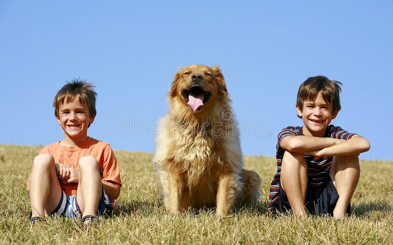 Download Boys And Dog On A Hill Stock Images - Image: 4469714