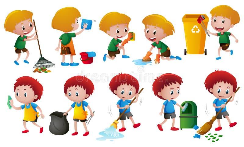 Boys doing different chores stock illustration