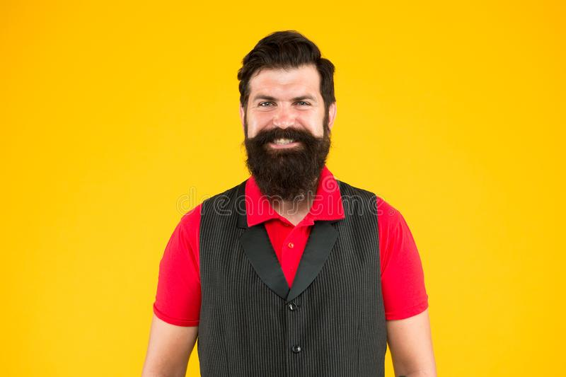 Boys dont cry. Happy hipster. Hipster smile yellow background. Brutal hipster with thick beard hair. Bearded man in. Casual hipster style. Barbershop. Barbers stock photos