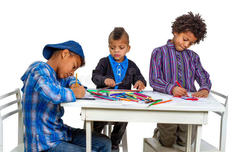 Boys draw. Drawing lesson in art school. Boys learn to draw royalty free stock photos