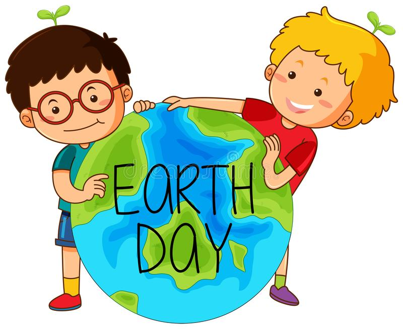 Boys with earth day stock illustration