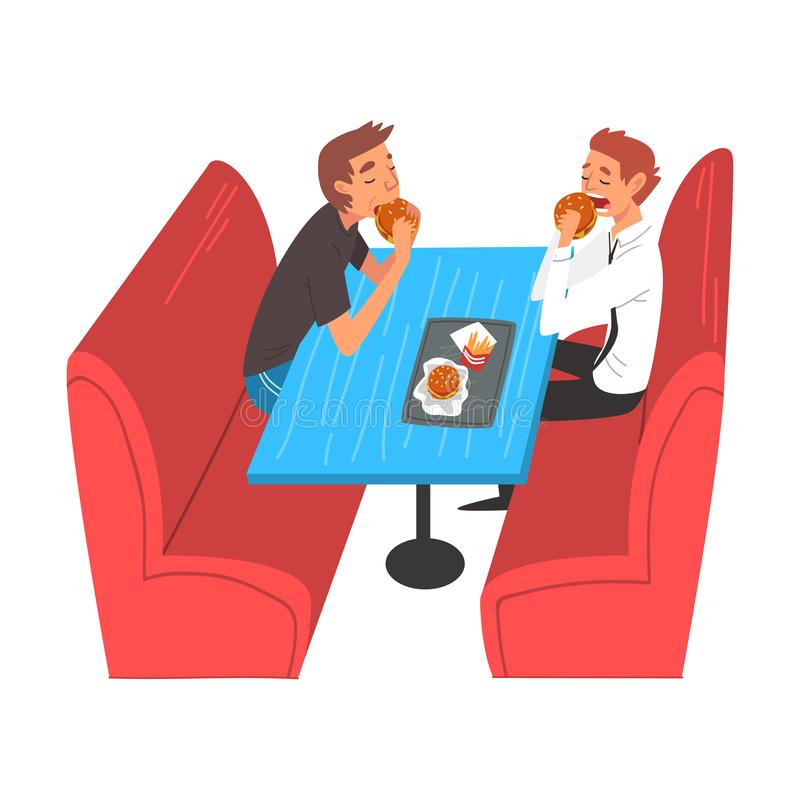 Boys Eating Burgers in Food Court in Shopping Mall Vector Illustration. On White Background royalty free illustration
