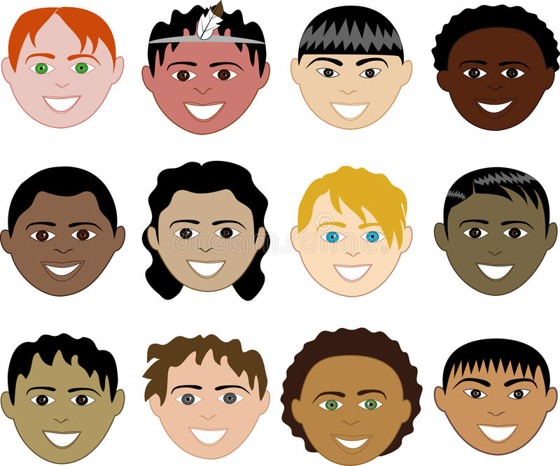Download Boys Faces stock vector. Image of chinese, colored, aboriginal - 10811515