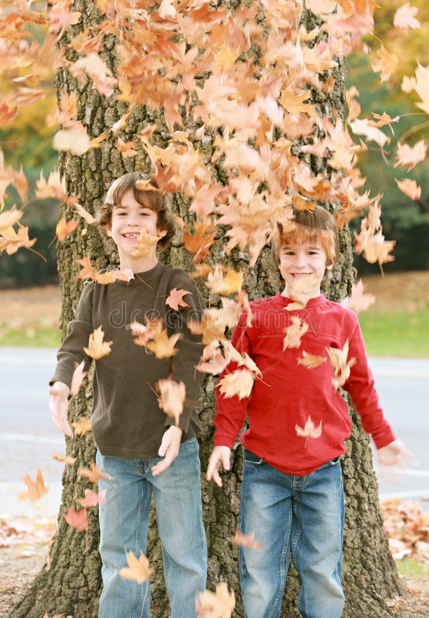 Boys in the Fall royalty free stock images