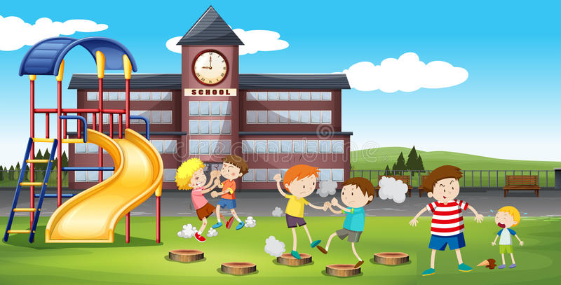 Boys fighting in the school campus. Illustration royalty free illustration
