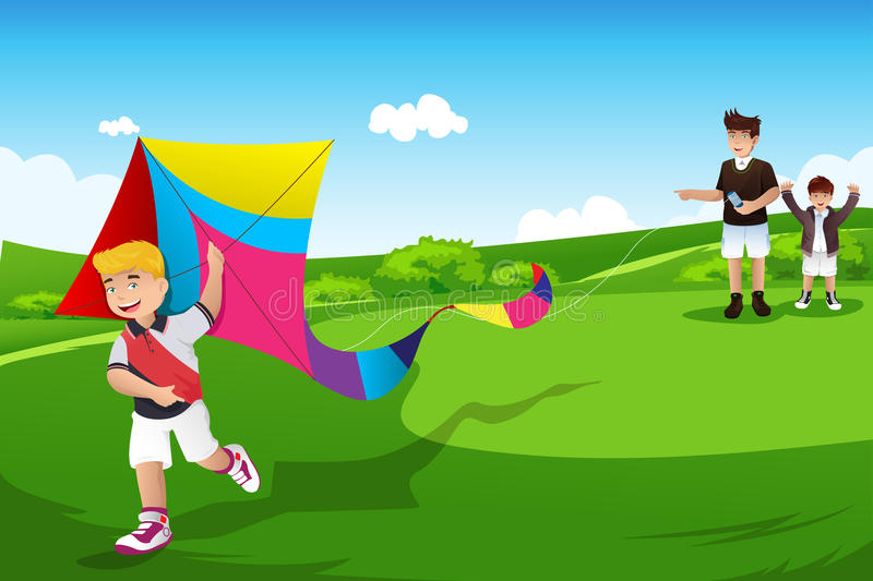 Boys flying kite with their dad. A vector illustration of two boys flying kite with their dad in an open field stock illustration