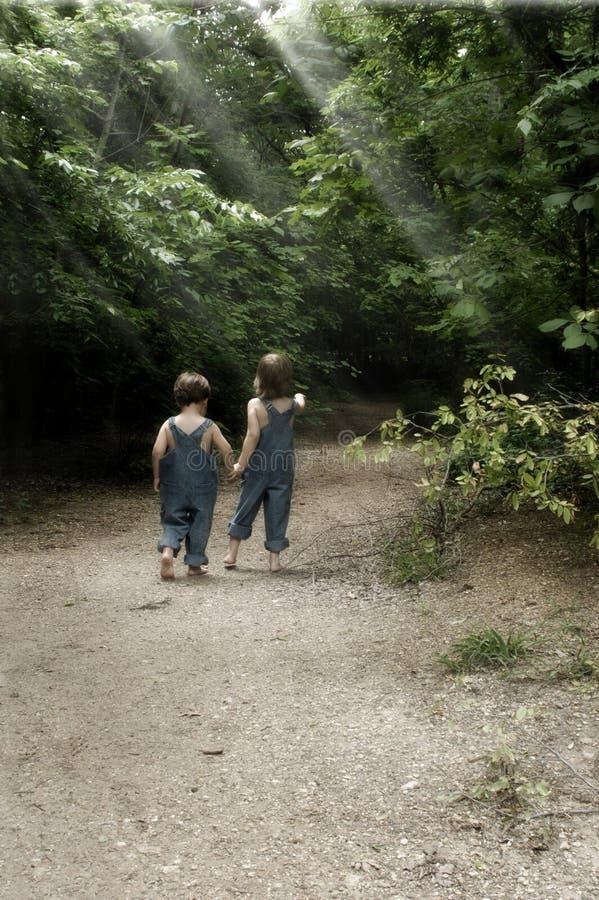 Boys on a Garden Path stock photography