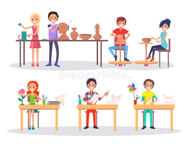 Boys and Girl at Art School Isolated Illustration royalty free illustration