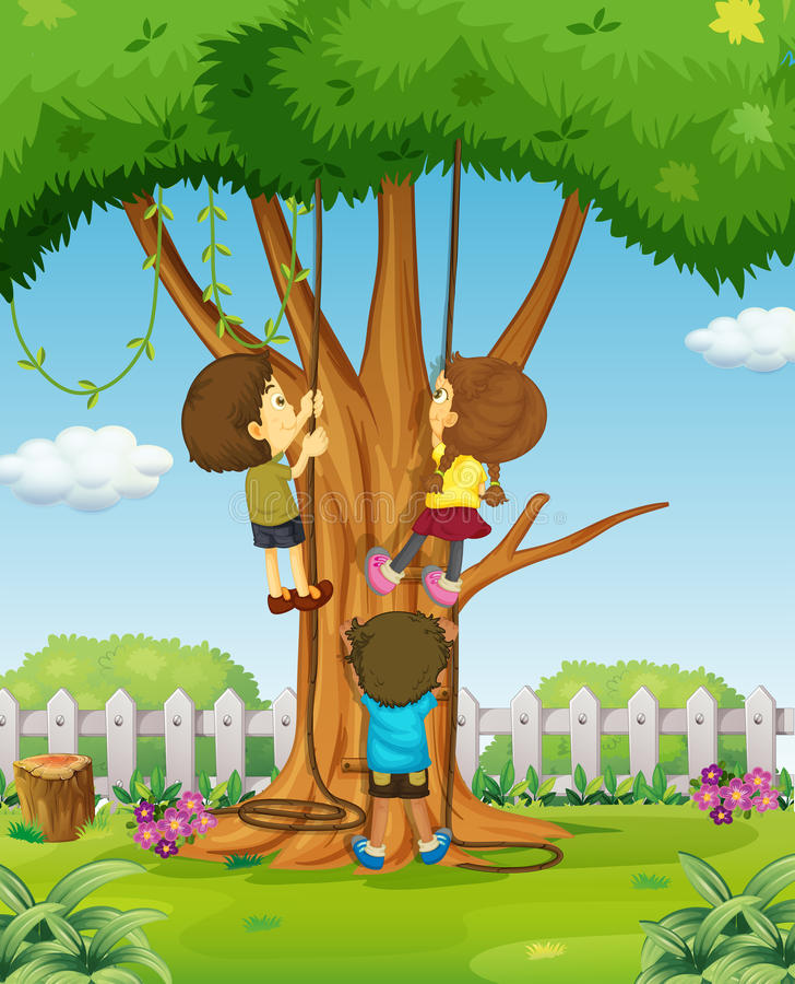 Girl Climbing Tree Stock Illustrations – 401 Girl Climbing ...