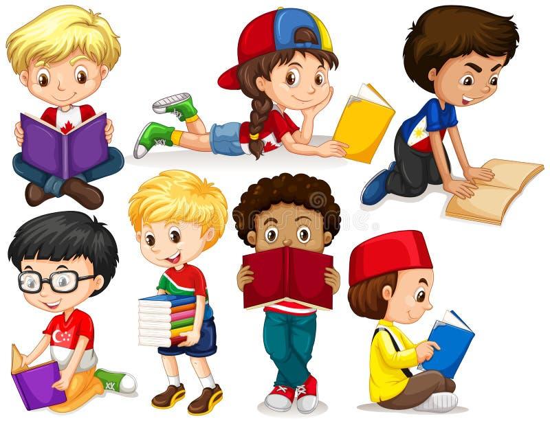 Boys and girl reading books stock illustration