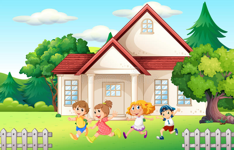 Boys and girl running in the backyard. Illustration vector illustration