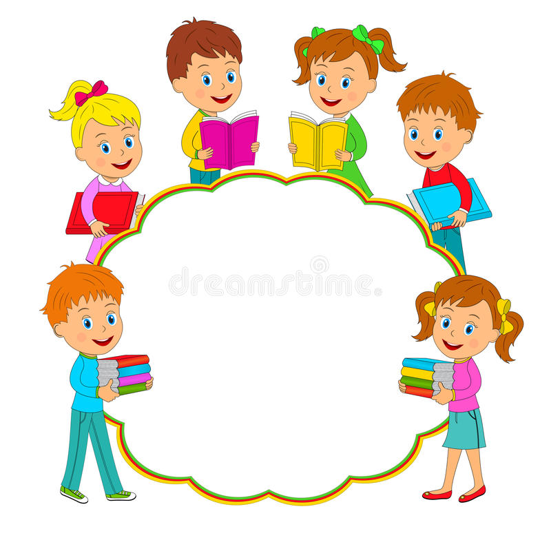 Children Book Cover Vector : Boys and girls with book frame stock vector