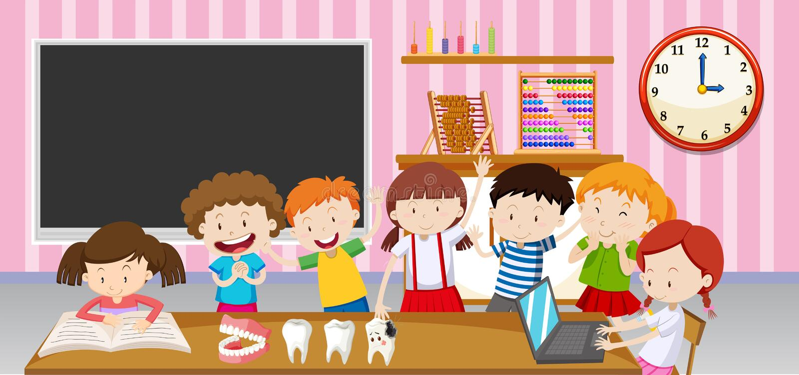 Boys and girls in the classroom vector illustration