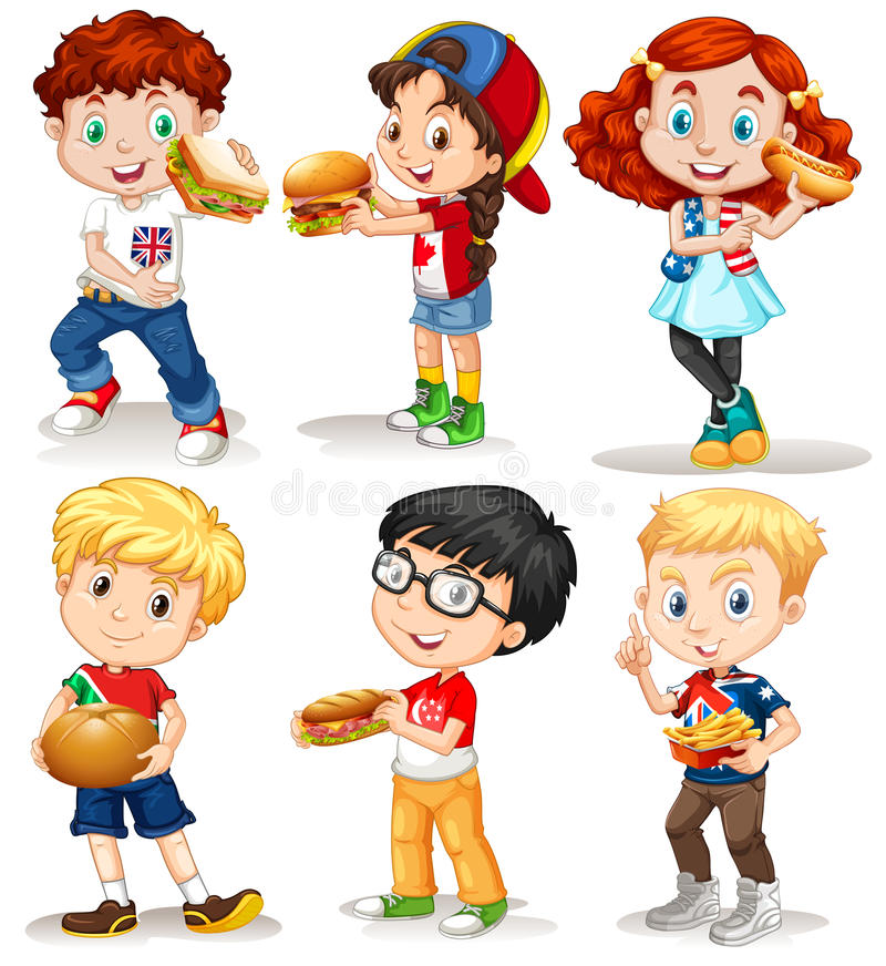 Boys and girls with fastfood. Illustration vector illustration