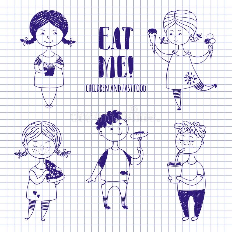 Boys and girls with food on notebook paper. stock illustration