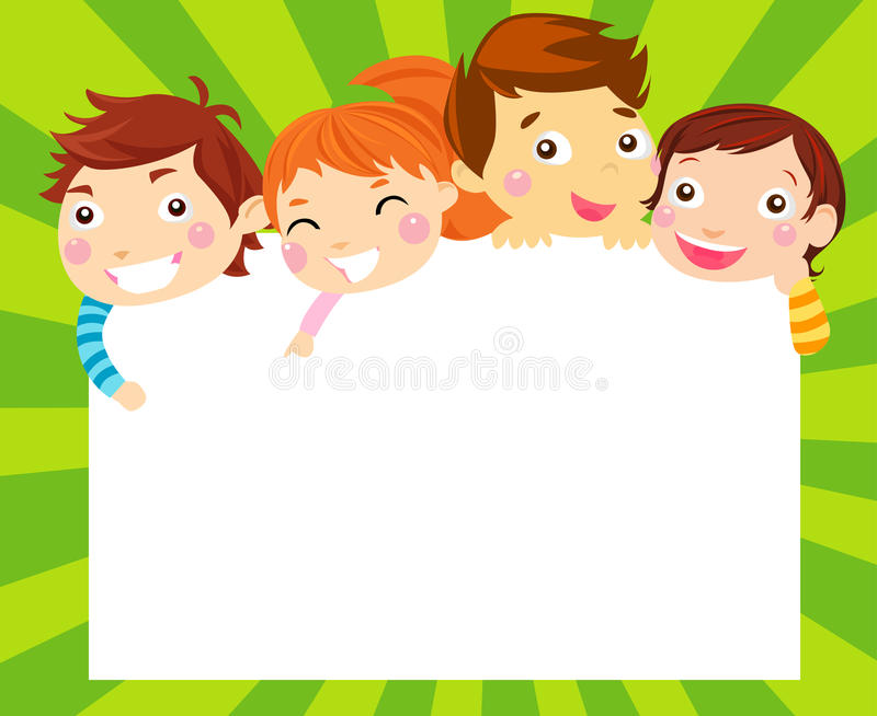 Boys and girls and frame vector illustration