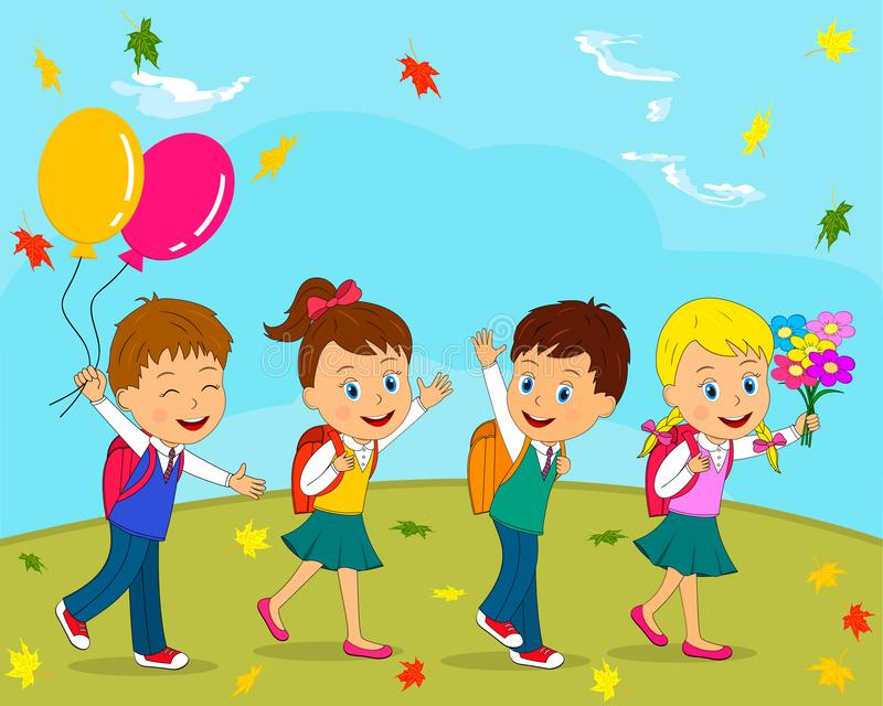 Boys and girls go to school vector illustration