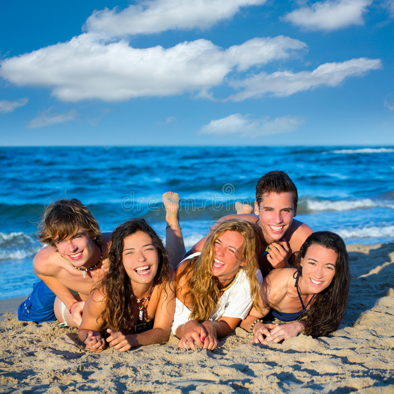 Download Boys And Girls Group Having Fun On The Beach Stock Photo - Image: 33308140