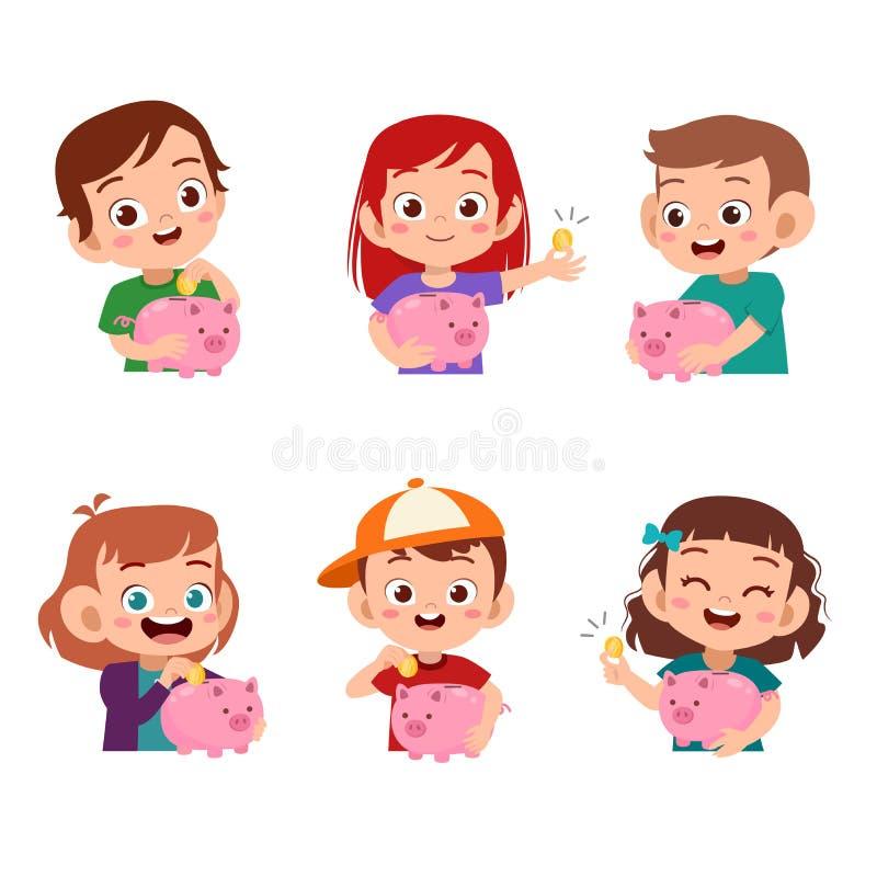 Boys and girls holding piggy bank illustration set bundle vector illustration
