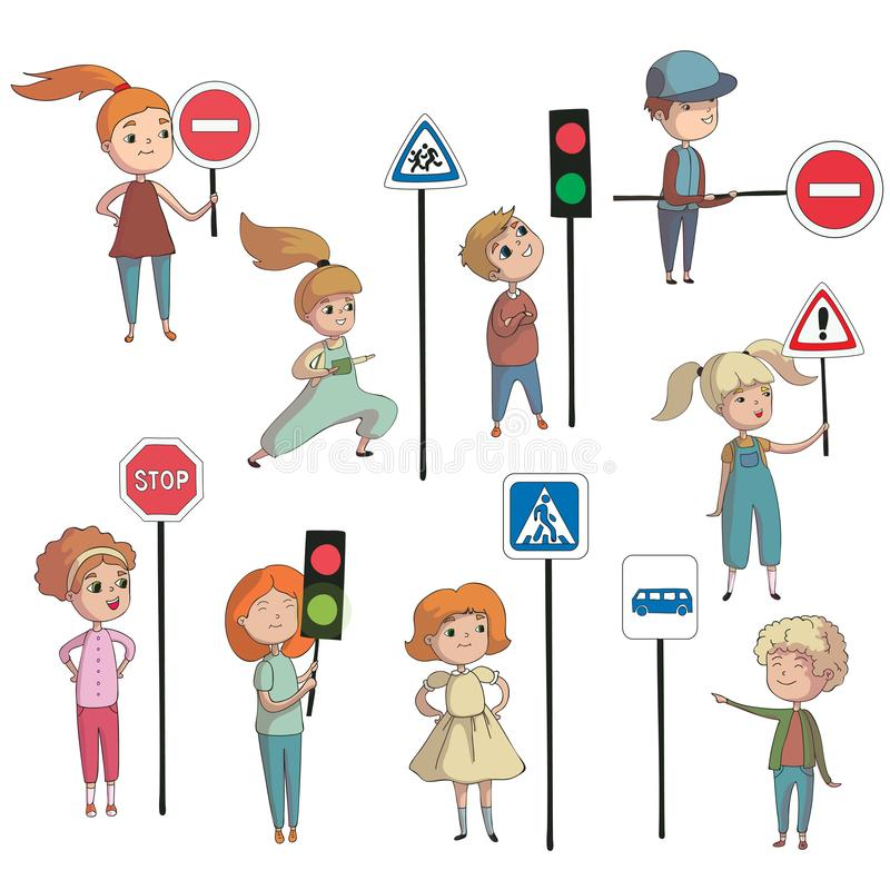 Boys and girls next to the road signs. Vector illustration on white background. royalty free illustration