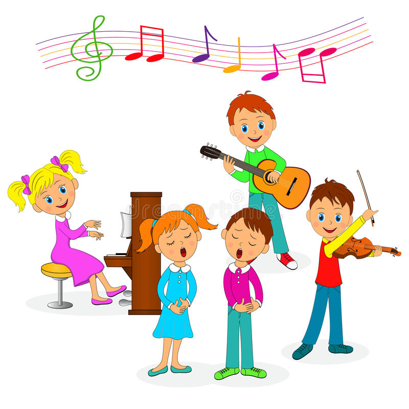 Boys and girls play music and sing royalty free illustration