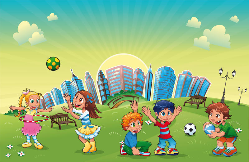 Boys and girls are playing in the park. vector illustration