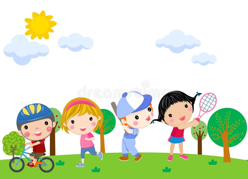 Boys and girls playing sports illustration vector illustration
