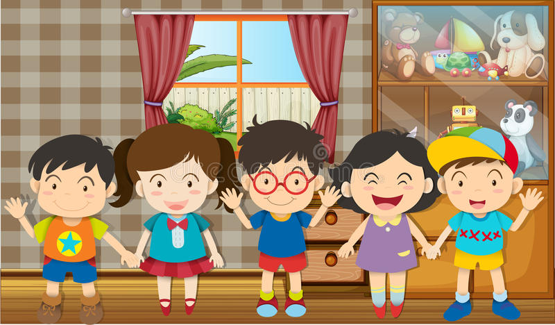 Boys and girls in the room. Illustration vector illustration