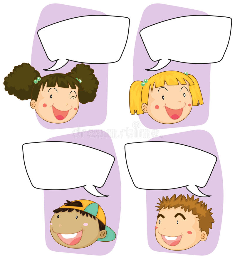 Boys And Girls With Speech Bubble Templates Stock Vector ...