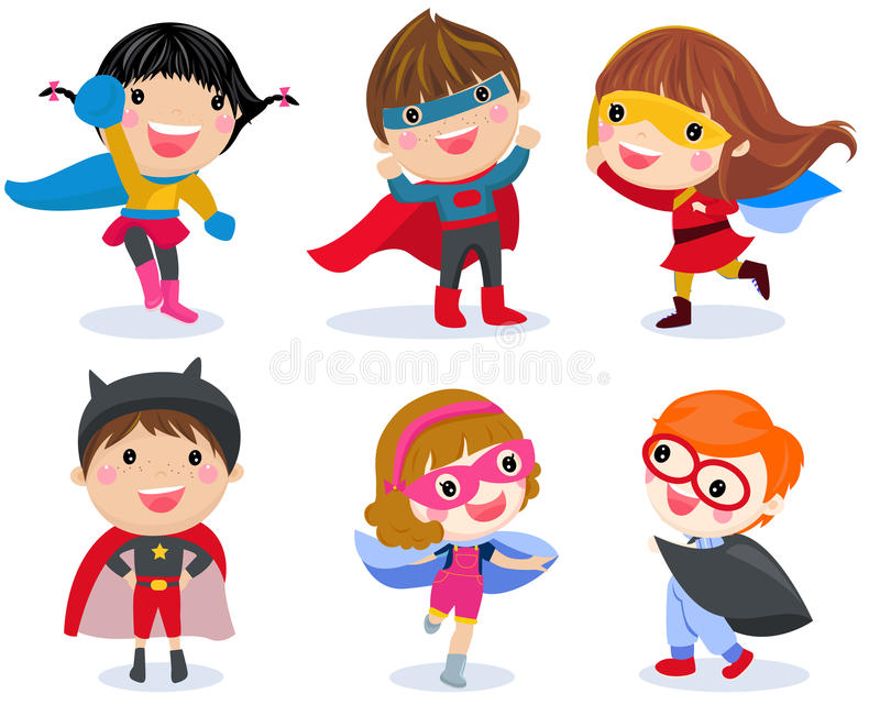 Boys and girls in superhero costumes on white background royalty free illustration