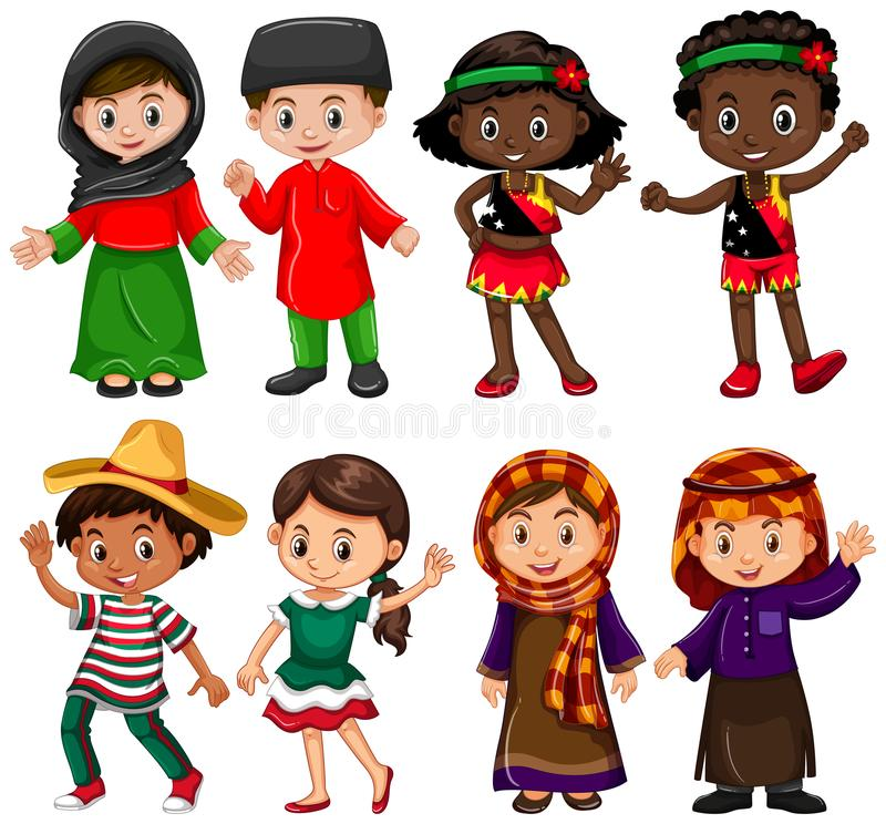 Boys and girls in traditional costumes royalty free illustration