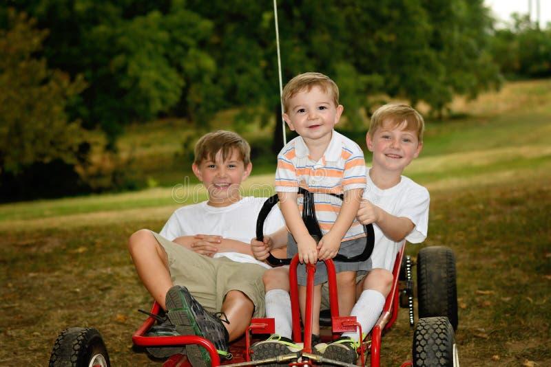 Boys on a go-kart royalty free stock photos