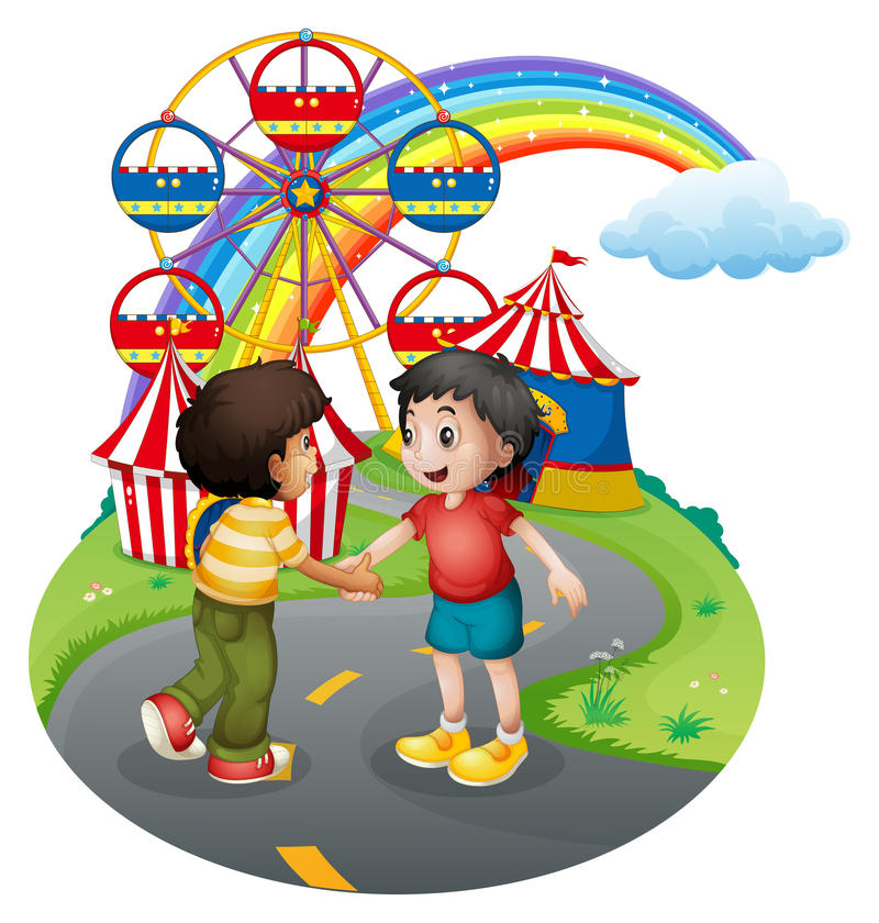 Boys handshaking in front of the carnival. Illustration of the boys handshaking in front of the carnival on a white background royalty free illustration