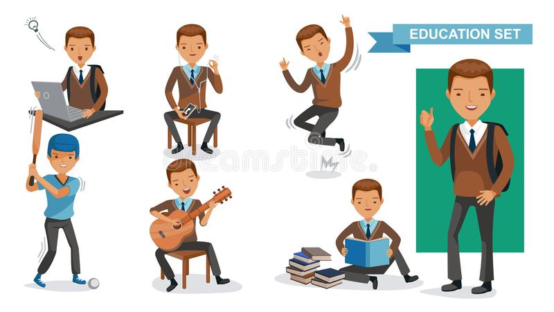Boys High School. Of Education set. Using computers, using cell phones, jumping, playing baseball, playing guitar, reading books, hands up, in school uniforms royalty free illustration