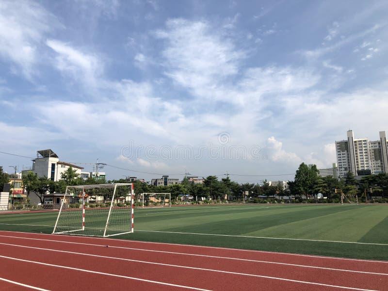Sunny day at school`s field stock photos