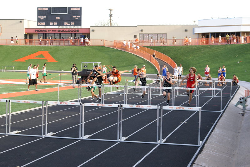 Download Boys Hurdle Race editorial stock photo. Image of exercise - 9109903
