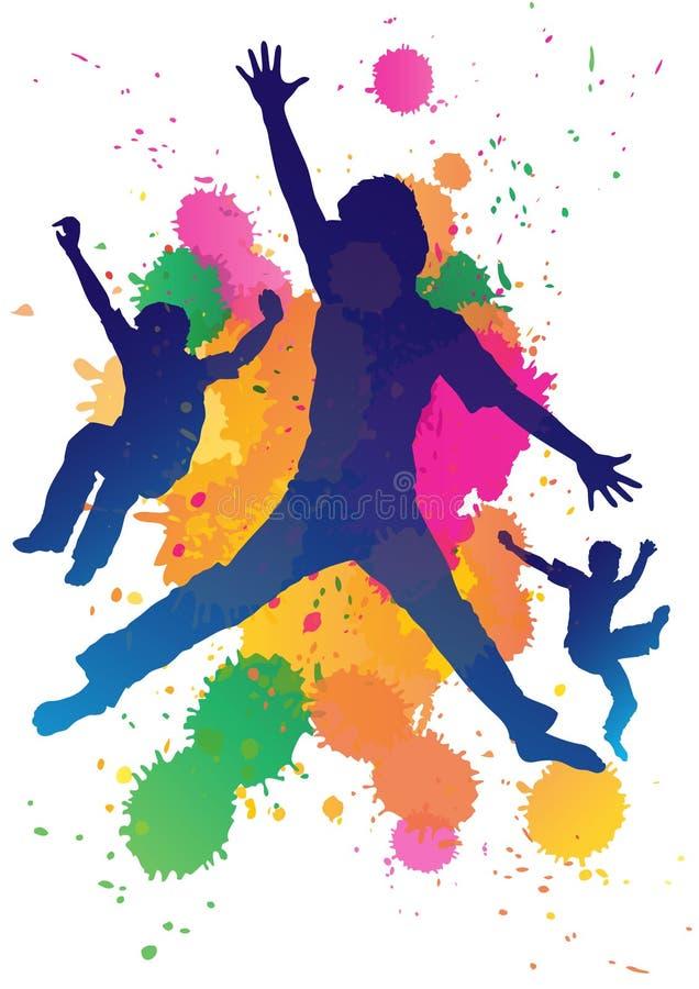 Boys jumping vector illustration